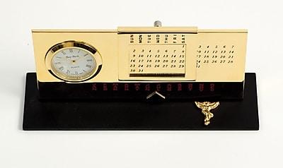 Bey-Berk Gold Plated Black Base Perpetual Calendar and Clock, Chiropractor