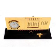 Bey-Berk Gold Plated  Black Base Perpetual Calendar and Clock, Dental