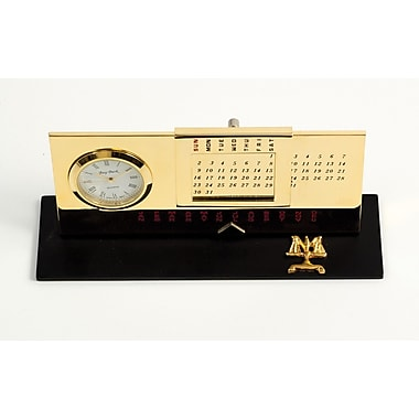 Bey-Berk Gold Plated Black Base Perpetual Calendar and Clock, Legal