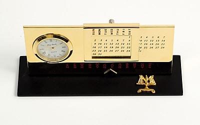 Bey-Berk Gold Plated Black Base Perpetual Calendar and Clock, Legal