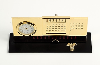 Bey-Berk D232 Gold Plated Black Base Perpetual Calendar and Clock, Medical