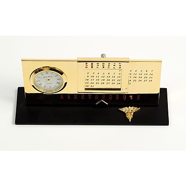 Bey-Berk Gold Plated Black Base Perpetual Calendar and Clock, Nursing