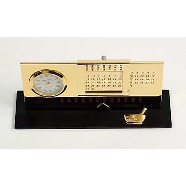 Bey-Berk Gold Plated Black Base Perpetual Calendar and Clock, Pharmacy