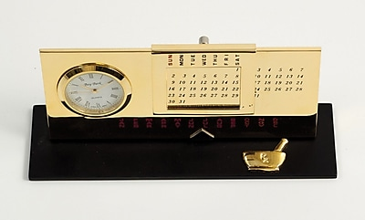 Bey-Berk D232 Gold Plated Black Base Perpetual Calendar and Clock, Pharmacy