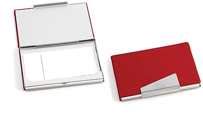 Bey-Berk D259 Leather Business Card Case With Aluminum Trim, Red