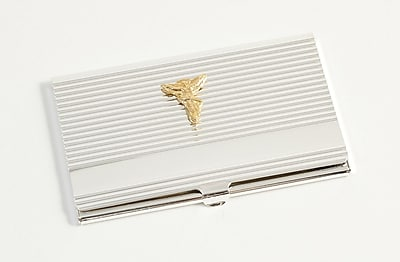Bey-Berk Silver Plated Business Card Case With Gold Plated Accents, Chiropractor