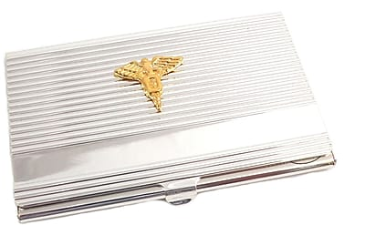 Bey-Berk D261 Silver Plated Business Card Case With Gold Plated Accents, Dental