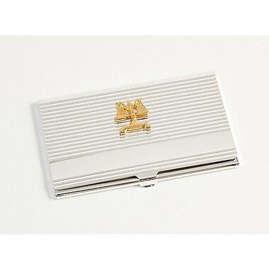 Bey-Berk Silver Plated Business Card Case With Gold Plated Accents, Legal