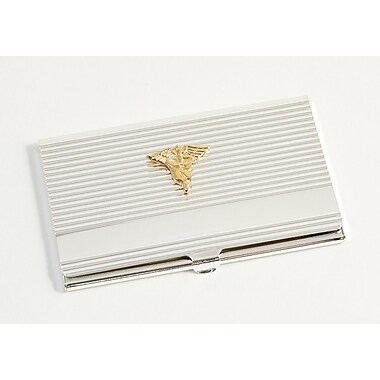 Bey-Berk Silver Plated Business Card Case With Gold Plated Accents, Nursing