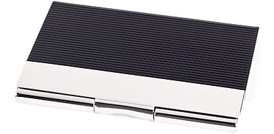 Bey-Berk D262 Silver Plated Business Card Case With Black Anodized Trim