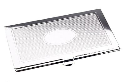 Bey-Berk Silver Plated Business Card Case With Oval Design