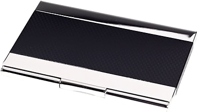 Bey-Berk Nickel Plated Business Card Case With Black Anodized Trim