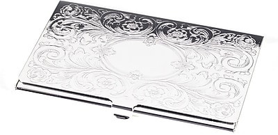 Bey-Berk D273 Silver Plated Business Card Case With Filigree and Oval Design