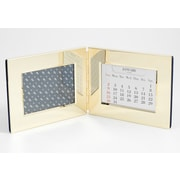 "Bey-Berk Perpetual Calendar  With 3 1/2"" x 5"" Picture Frame and Velvet Backing, Gold Plated"