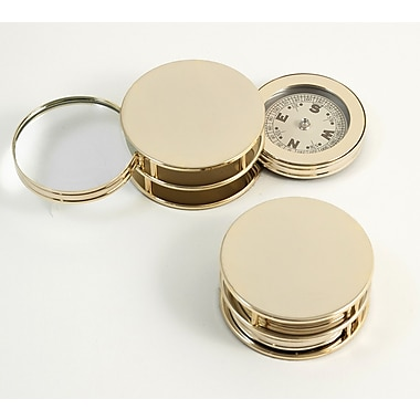 Bey-Berk Paperweight and Fold Out Magnifier With 3X Magnification and Compass, Gold Plated