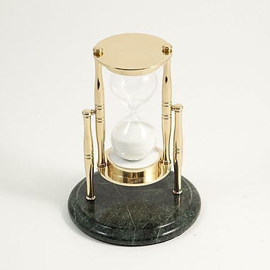 Bey-Berk 30 Minute Brass and Green Marble Sand Timer