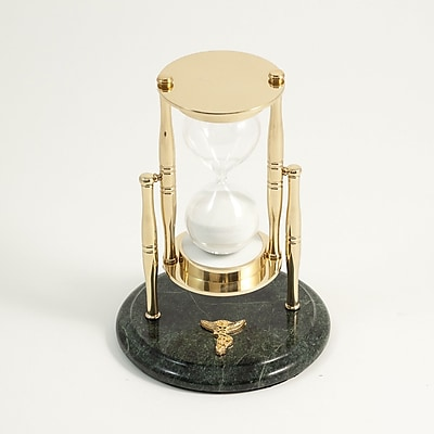Bey-Berk 30 Minute Brass and Green Marble Sand Timer, Chiropractor