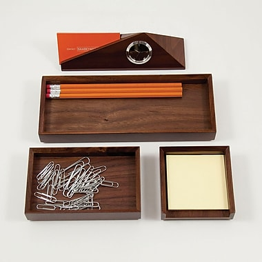 Bey-Berk 4-Piece Walnut Wood Desk Set with Business Card Holder (D990)