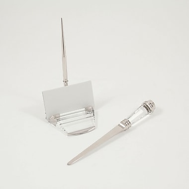 Bey-Berk Crystal and Silver Plated Pen Stand