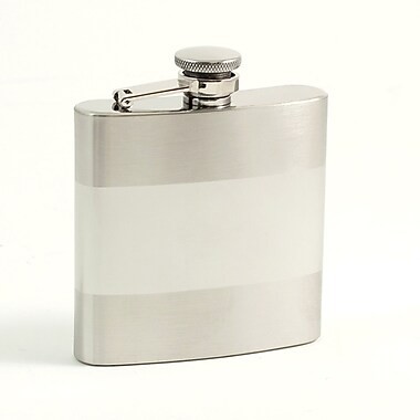 Bey-Berk Stainless Steel Flask Satin and Shiny Finish Flask, 6 oz.