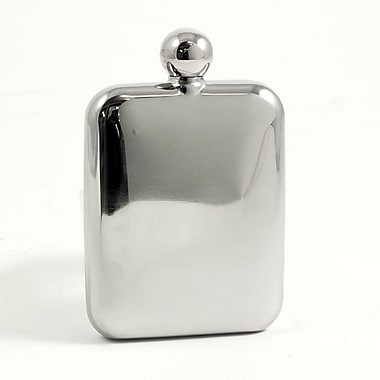 Bey-Berk Stainless Steel Mirror Finish Flask With Rounded Corners, 6 oz.