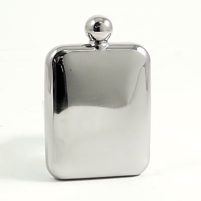 Bey-Berk FS106R Stainless Steel Mirror Finish Flask With Rounded Corners, 6 oz.