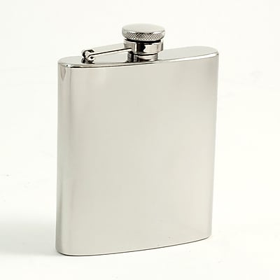 Bey-Berk FS107 Stainless Steel Mirror Finish Flask With Captive Cap and Durable Rubber Seal, 7 oz.