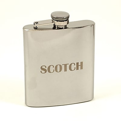 Bey-Berk Stainless Steel Mirror Finish Flask With Cap and Rubber Seal, 7 oz., Scotch