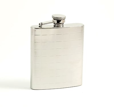 Bey-Berk FS107C Stainless Steel Mirror Finish Flask With Cap and Rubber Seal, 7 oz., Checker Design