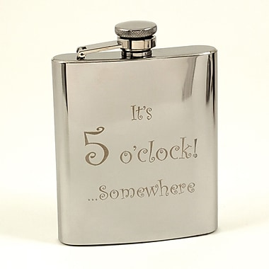 Bey-Berk Stainless Steel Mirror Finish Flask, 5 o'clock, 7 oz. (FS107K)