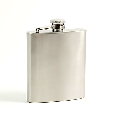 Bey-Berk FS107S Stainless Steel Flask in Satin Finish With Cap and Rubber Seal, 7 oz.