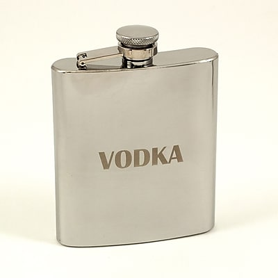 Bey-Berk Stainless Steel Mirror Finish Flask With Cap and Rubber Seal, 7 oz., Vodka