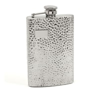 Bey-Berk FS108 Stainless Steel Hammered Finish Flask With Cap and Rubber Seal, 8 oz.