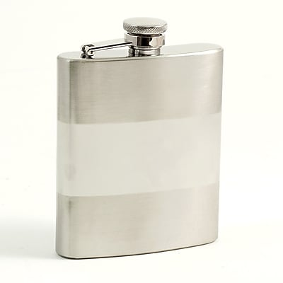 Bey-Berk FS108B Stainless Steel Flask Satin and Shiny Finish With Cap and Rubber Seal, 8 oz.