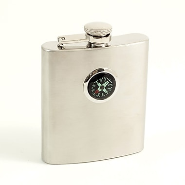 Bey-Berk Stainless Steel Compass Flask With Captive Cap and Durable Rubber Seal, 8 oz.