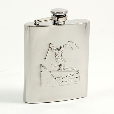 Bey-Berk Stainless Steel Skier Flask in a Satin Finish, 8 oz.
