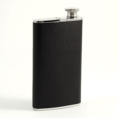 Bey-Berk Stainless Steel Black Leather Flask With Cigar Holder, 4 oz.