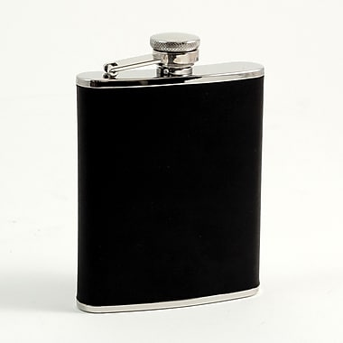 Bey-Berk Stainless Steel Black Leather Flask With Captive Cap and Durable Rubber Seal, 6 oz.