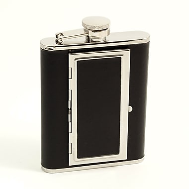 Bey-Berk Stainless Steel Black Leather Flask With Cigarette Compartment, 6 oz.