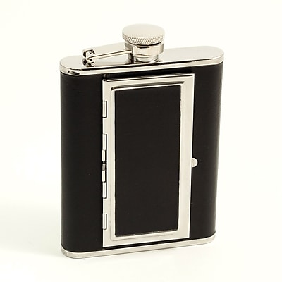 Bey-Berk FS116C Stainless Steel Black Leather Flask With Cigarette Compartment, 6 oz.