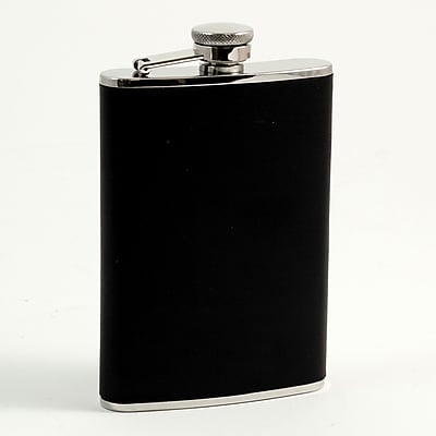 Bey-Berk Stainless Steel Black Leather Flask With Captive Cap and Durable Rubber Seal, 8 oz.