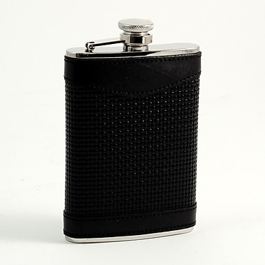 Bey-Berk Stainless Steel Leather Flask, Black, 8 oz. (FS218)
