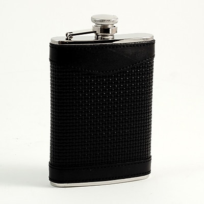 Bey-Berk Stainless Steel Black Leather Woven Flask With Cap and Rubber Seal, 8 oz.