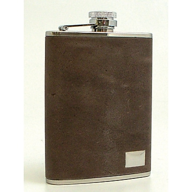 Bey-Berk Stainless Steel Lynx Brown Leather Flask With Engraving Plate, 6 oz.