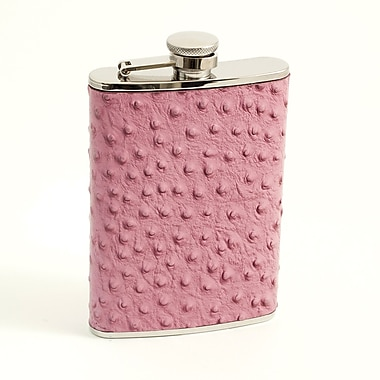 Bey-Berk Stainless Steel Ostrich Pink Leather Flask With Cap and Durable Rubber Seal, 8 oz.