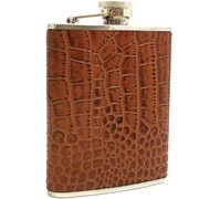 Bey-Berk Stainless Steel  Brown Croco Leather Flask With Captive Cap and Rubber Seal, 6 oz.