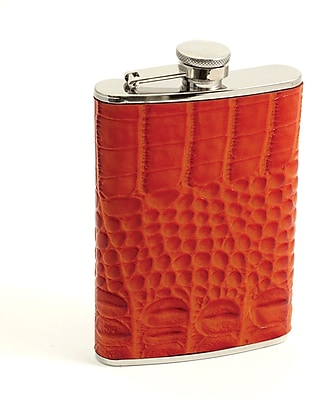 Bey-Berk FS268 Stainless Steel Ostrich Orange Leather Flask With Cap and Rubber Seal, 8 oz.