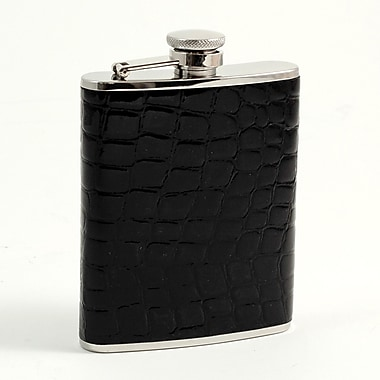 Bey-Berk Stainless Steel Black Croco Leather Flask With Captive Cap and Rubber Seal, 6 oz.