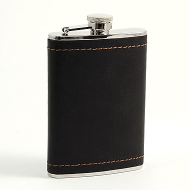 Bey-Berk Stainless Steel Black Leather Mustard Stitch Flask With Cap and Rubber Seal, 8 oz.