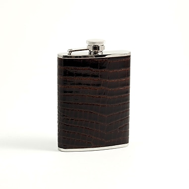 Bey-Berk FS326 Stainless Steel Brown Croco Leather Flask With Captive Cap and Rubber Seal, 6 oz.